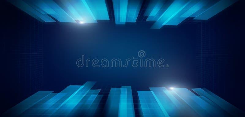 schermo moderno di Ciao-tecnologia dei dati, concetto di flusso della corrente del collegamento a Internet fotografia stock