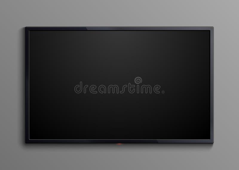 Schermo nero realistico della televisione isolato modello principale in bianco di vettore dell'esposizione del monitor 3d illustrazione vettoriale