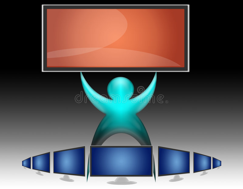 Schermo piano dell'affissione a cristalli liquidi della TV (07) illustrazione vettoriale