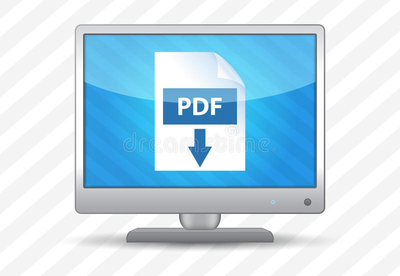Schermo piano TV con l'icona pdf di download illustrazione di stock