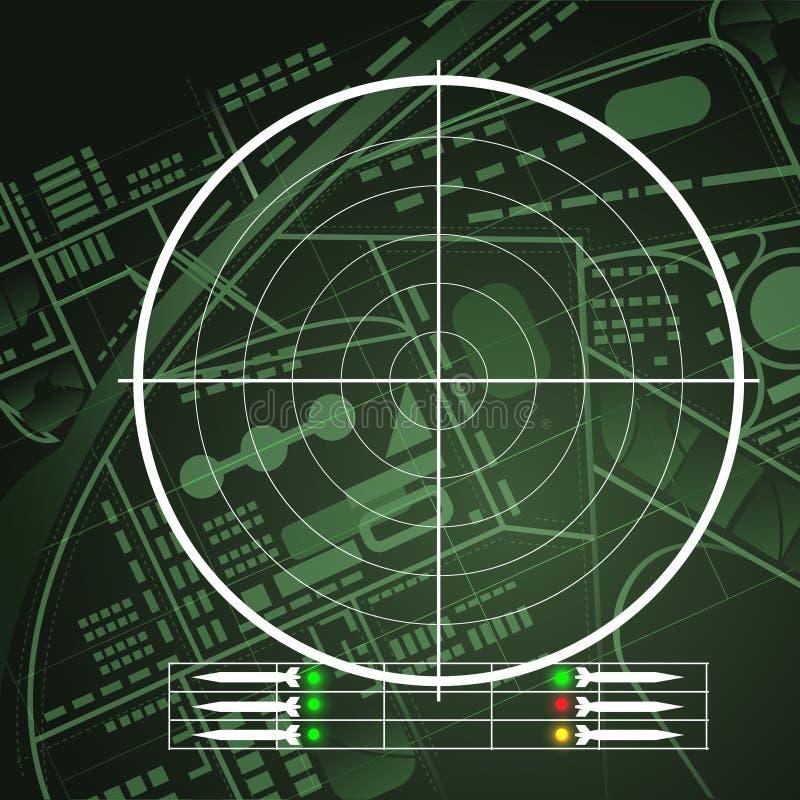 Schermo radar del fuco illustrazione vettoriale