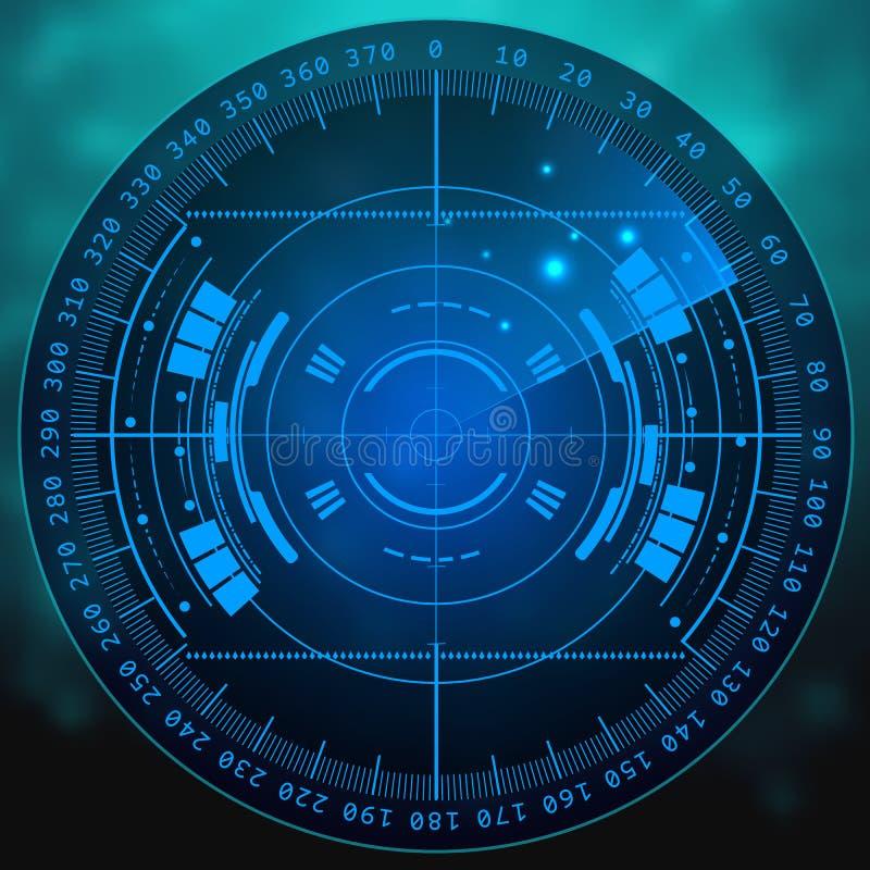 Schermo radar Illustrazione per il vostro disegno Priorità bassa di tecnologia Interfaccia utente futuristica Esposizione del rad illustrazione di stock