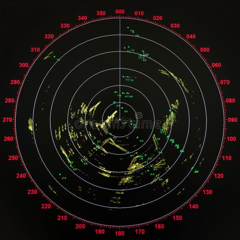 Schermo radar moderno nero e rosso della nave immagine stock