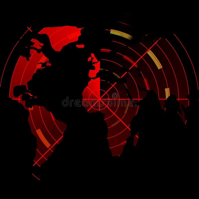 Schermo radar rosso con la mappa op il mondo royalty illustrazione gratis