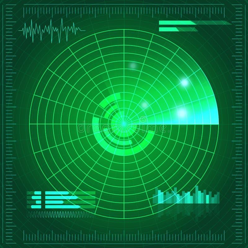 Schermo radar verde Illustrazione di vettore per la vostra acqua dolce di design Priorità bassa di tecnologia Interfaccia utente  royalty illustrazione gratis