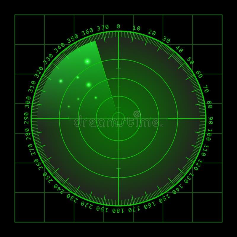 Schermo radar verde militare con l'obiettivo Hud Interface futuristico Illustrazione di riserva di vettore illustrazione vettoriale