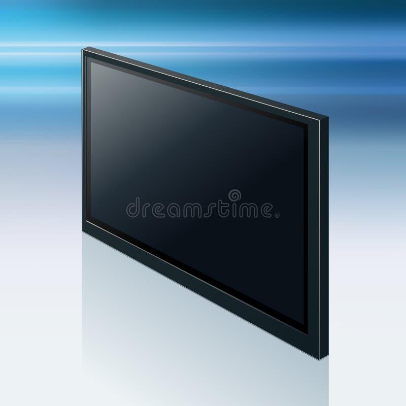 Schermo realistico della TV Pannello LCD alla moda moderno, tipo del LED illustrazione di stock
