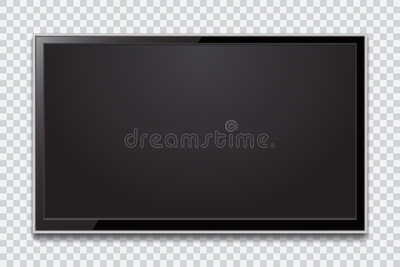 Schermo realistico della TV Pannello LCD alla moda moderno, tipo del LED Grande computer illustrazione di stock