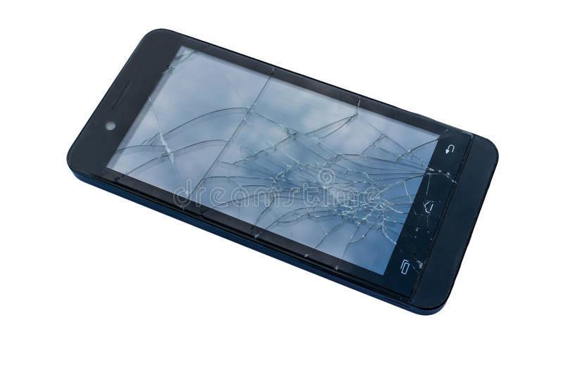 Schermo rotto del telefono cellulare fotografie stock libere da diritti