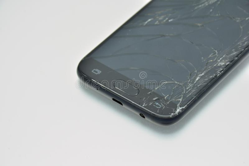 Schermo rotto del telefono cellulare fotografia stock
