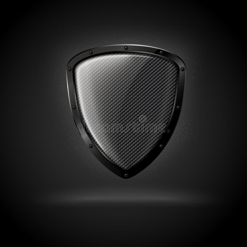 Schermo scuro di lusso realistico del carbonio di vettore 3d illustrazione di stock