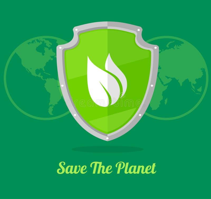Schermo verde di vettore con le foglie illustrazione vettoriale