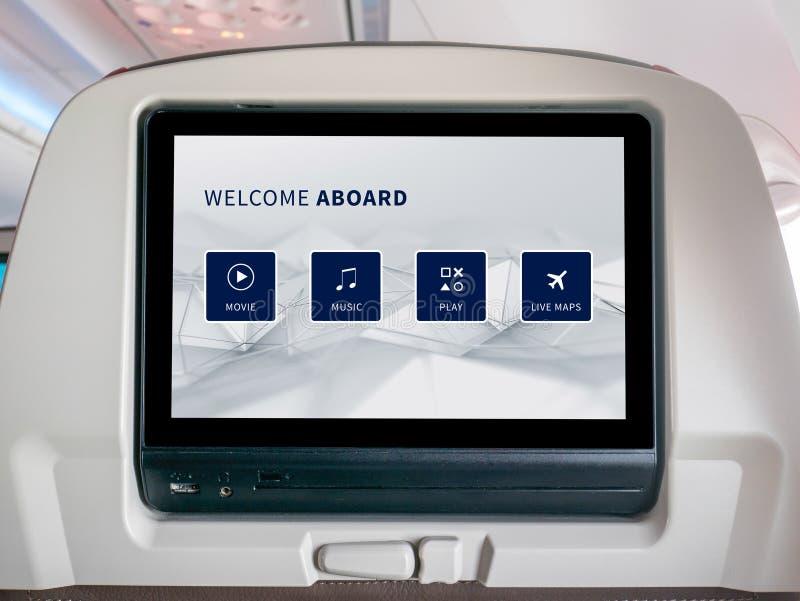 Schermo in volo di spettacolo, schermo del Seatback in aeroplano fotografia stock libera da diritti