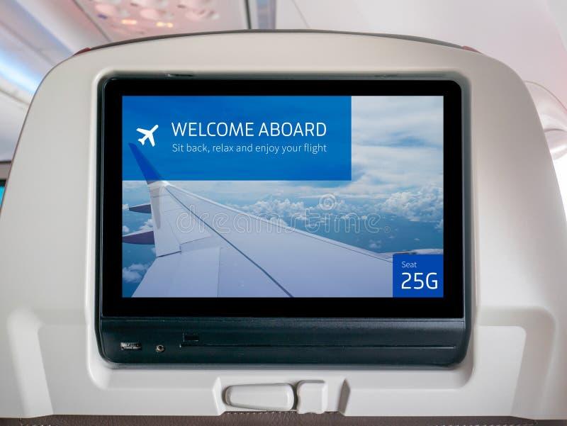 Schermo in volo di spettacolo, schermo in volo, schermo del Seatback in aeroplano immagini stock libere da diritti
