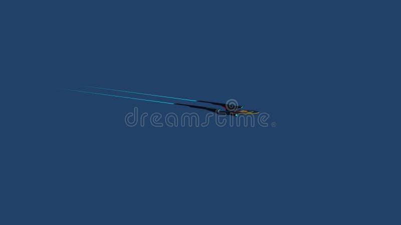Schermo Wallpaprer dell'immagine romanzata di scienza di uno starship dello spazio profondo e della Via Lattea sui precedenti illustrazione di stock