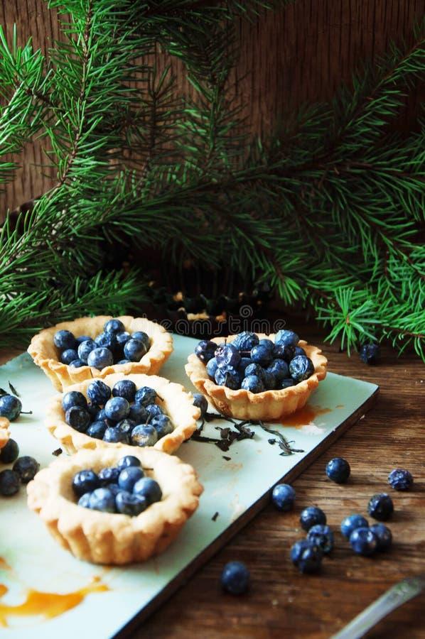 Scherp met citroengestremde melk en verse bosbes, hoogste mening Scherp dessert stock afbeeldingen