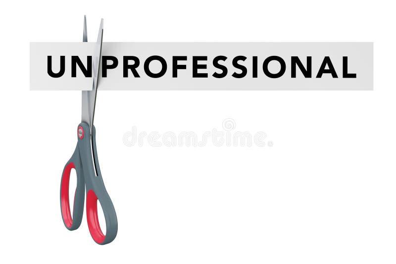 Scherp Niet professioneel aan Professioneel Document Teken met Schaar vector illustratie