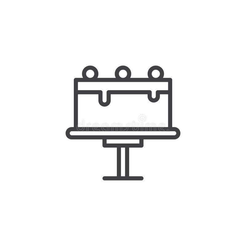 Scherp op de lijnpictogram van de caketribune stock illustratie