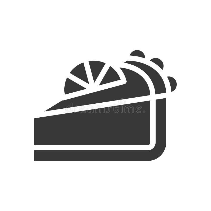 Scherpe citroenkaas, bakkerij en gebakjereeks, glyph pictogram vector illustratie