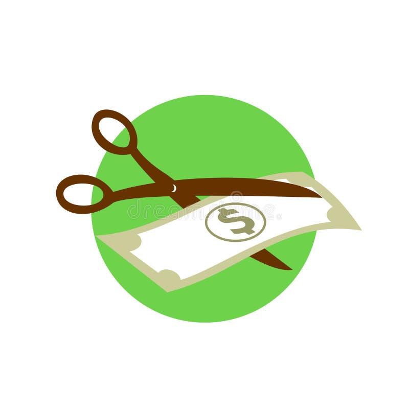 Scherpe Dollar Bill With Scissors Retro royalty-vrije illustratie