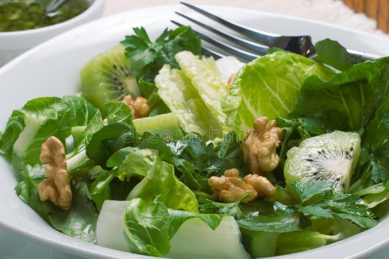 Scherpe en zoete groene salade stock afbeelding