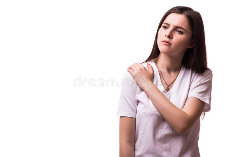 Scherpe pijn in een vrouwenelleboog royalty-vrije stock fotografie