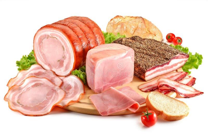 Scherpe raad met varkensvlees, bacon, ham en brood royalty-vrije stock foto