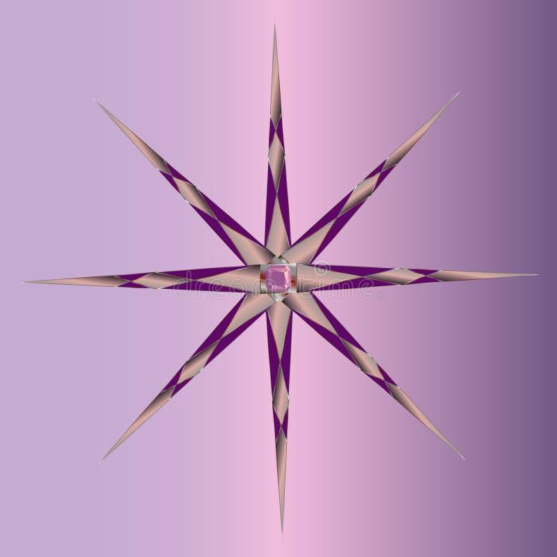 Scherpe volumetrische stralen in verschillende richtingen met de halfedelsteen in het centrum stock illustratie