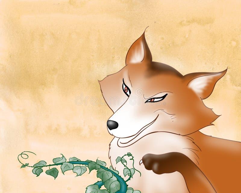 Scherpzinnige rode vos die - digitale illustratie richt vector illustratie