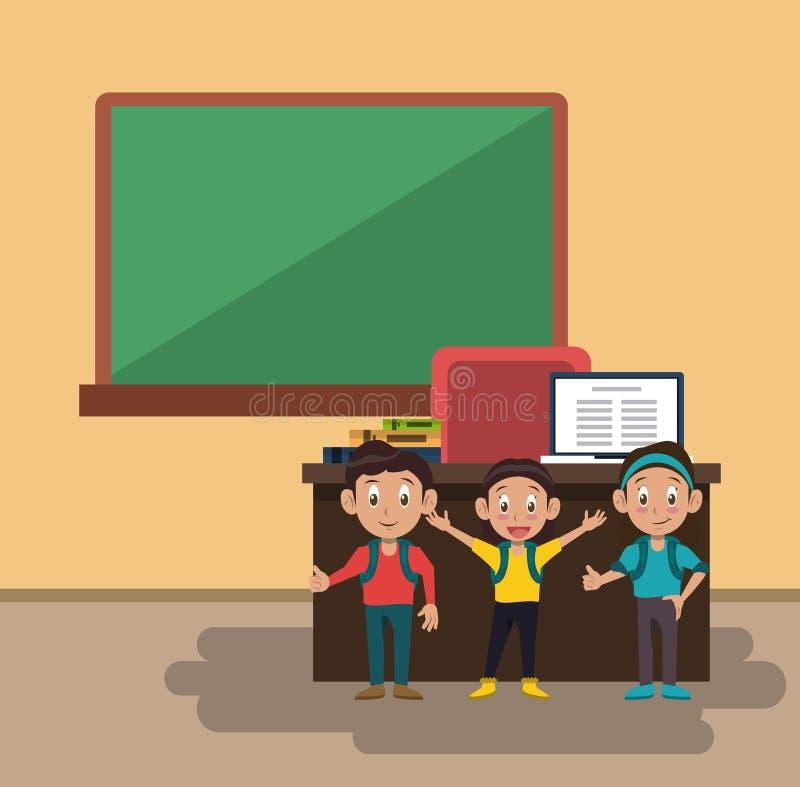 Scherza gli studenti all'aula illustrazione di stock
