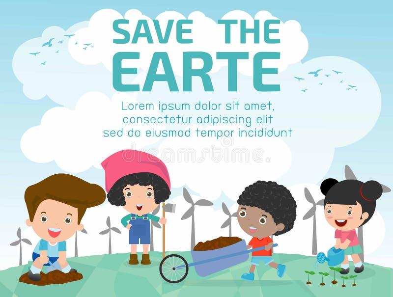 Scherza i funzionamenti in un orto, i bambini che lavorano in un orto, bambini che si offrono volontariamente nel giardino dell'a royalty illustrazione gratis