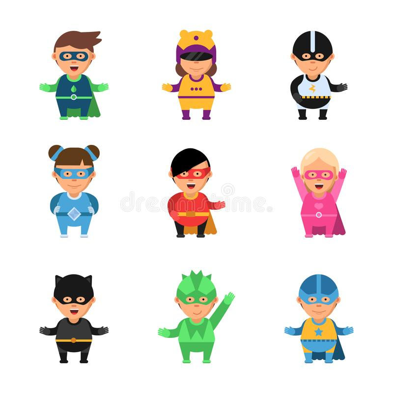 Scherza i supereroi Caratteri del gioco del fumetto 2d degli eroi nel maschio sveglio della maschera e nelle mascotte comiche cor illustrazione vettoriale