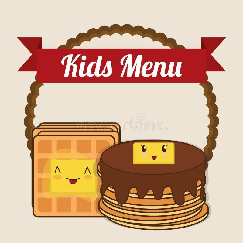 Scherza il burro dello sciroppo del pancake del menu illustrazione vettoriale