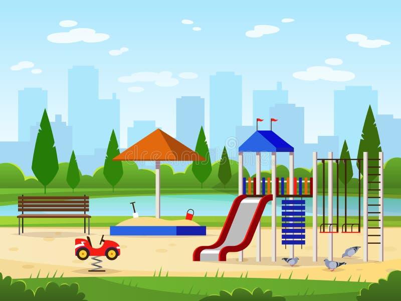 scherza il campo da giuoco Illustrazione divertente del giardino del paesaggio di paesaggio urbano di attività all'aperto di svag illustrazione di stock