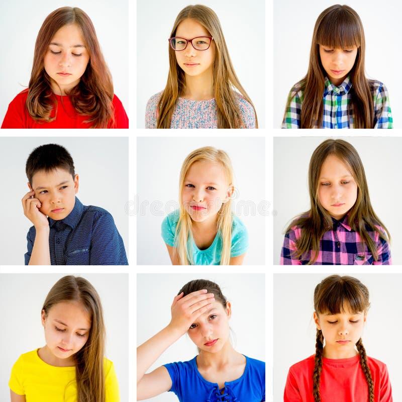 Scherza il collage di emozioni fotografie stock libere da diritti
