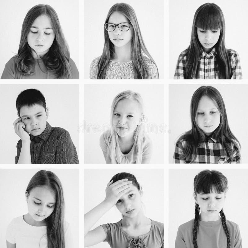 Scherza il collage di emozioni fotografia stock