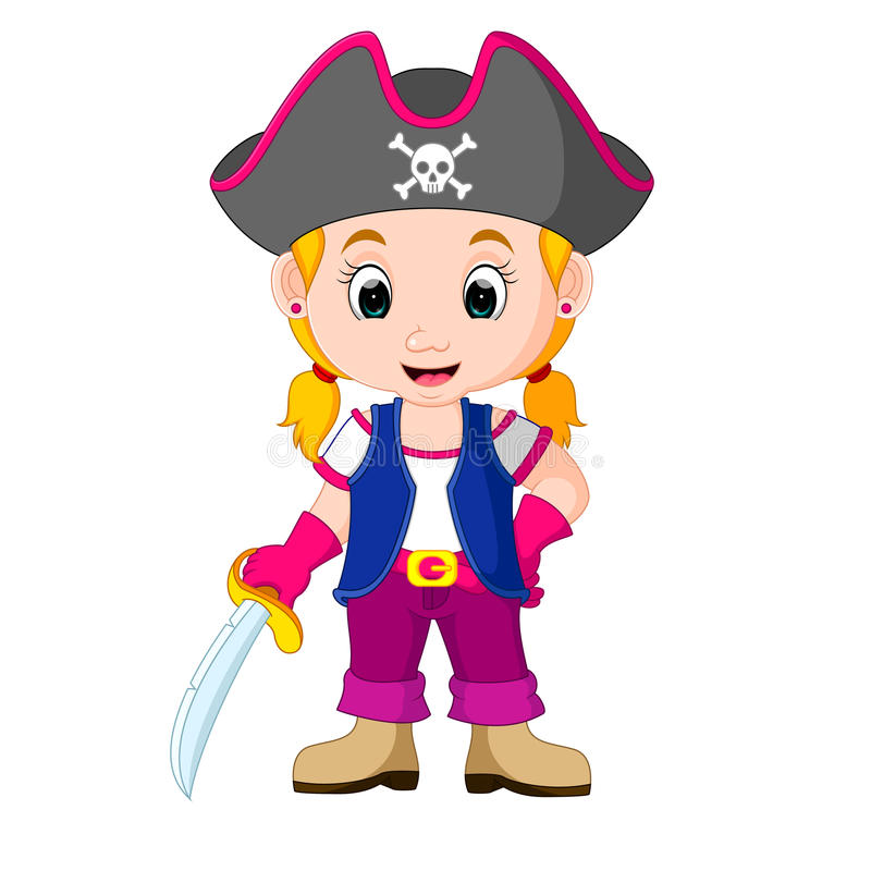 Scherza il fumetto del pirata della ragazza royalty illustrazione gratis