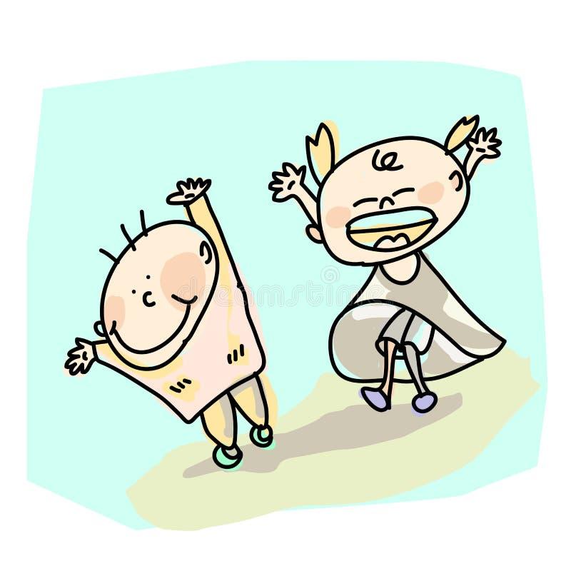 Scherza il fumetto della gioia disegnato a mano royalty illustrazione gratis