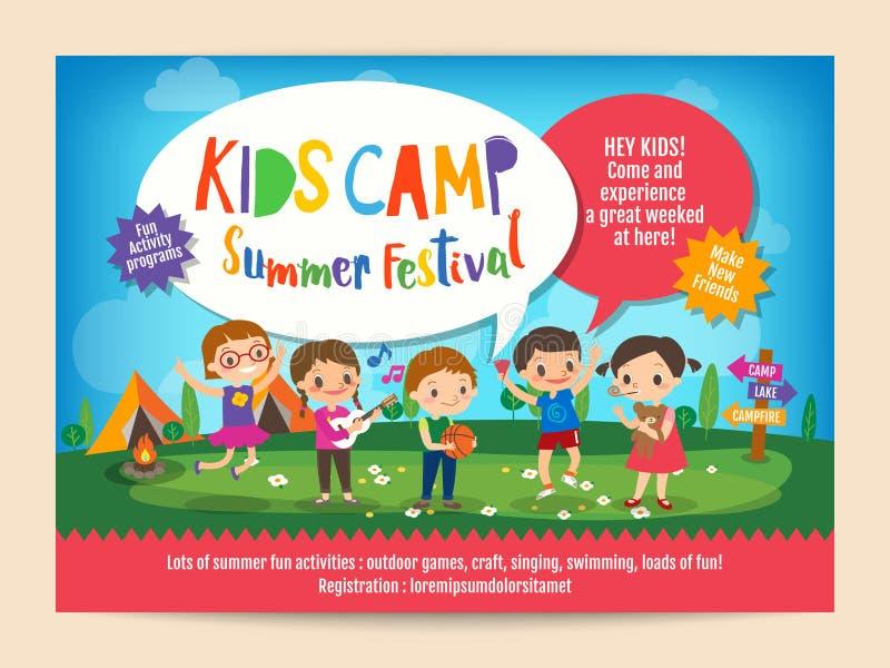 Scherza l'aletta di filatoio del manifesto di istruzione del campeggio estivo illustrazione vettoriale