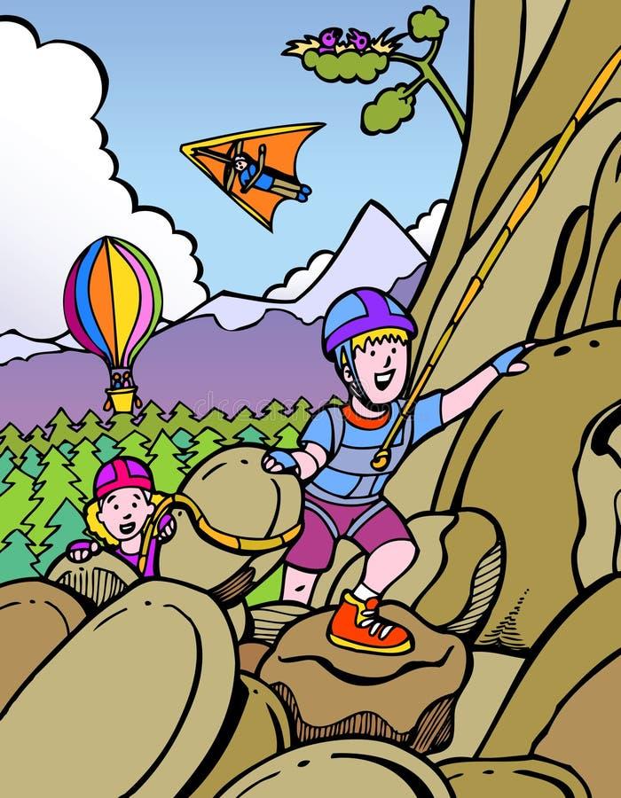 Scherza la scalata di roccia illustrazione vettoriale