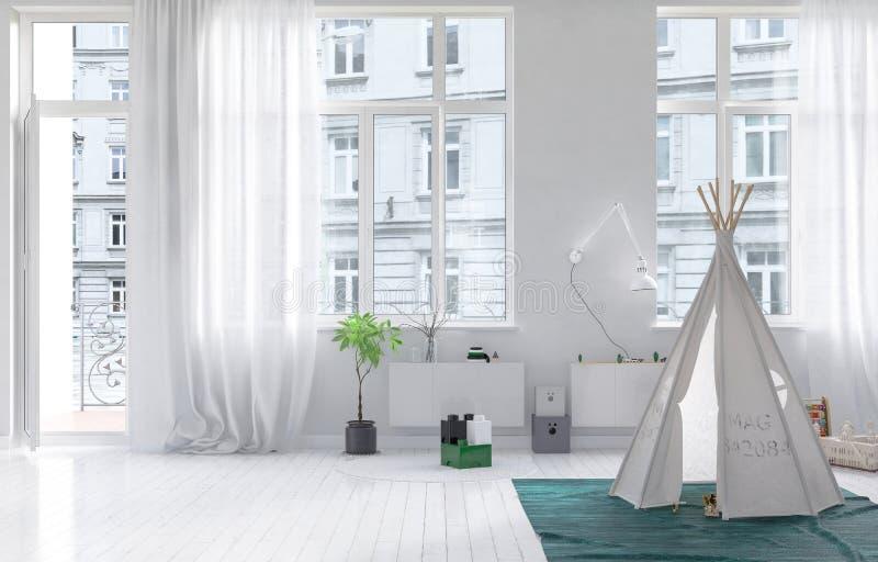 Scherza la stanza con il wigwam che gioca la casa illustrazione vettoriale