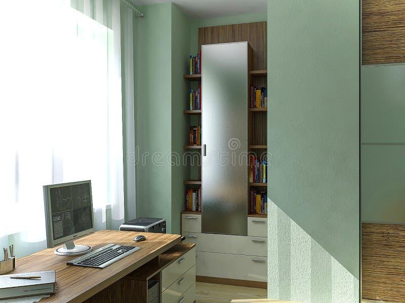 Scherza le idee di progetto di luoghi di lavoro della camera da letto, l'illustrazione 3D illustrazione vettoriale