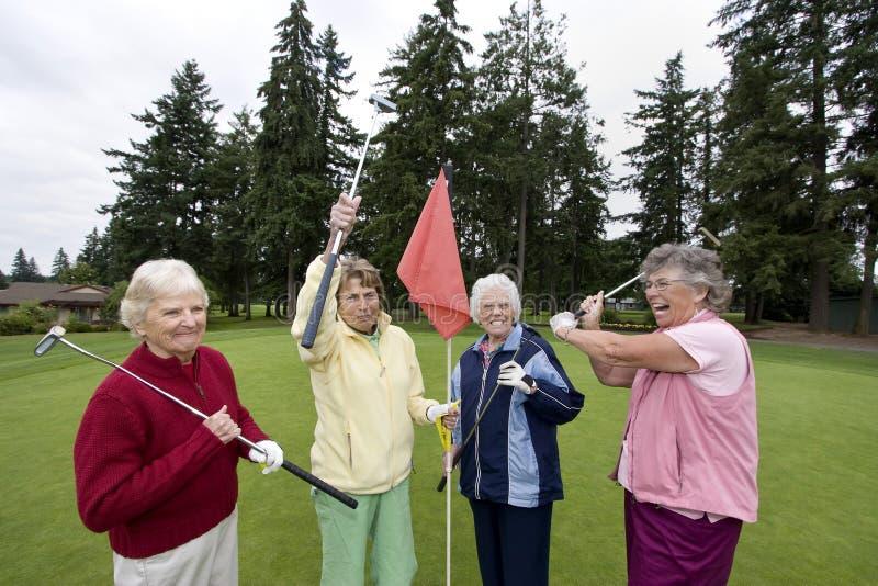 Scherzare anziano dei giocatori di golf fotografia stock libera da diritti