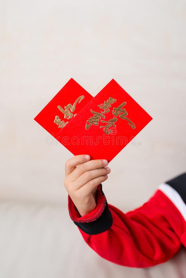 Scherzen Sie das Halten von roten Taschen geformt wie ein Herz lizenzfreie stockfotografie