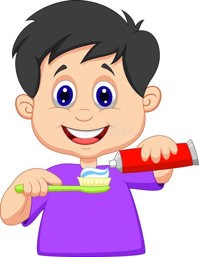 Scherzen Sie die Karikatur, die Zahnpasta auf einer Zahnbürste zusammendrückt vektor abbildung
