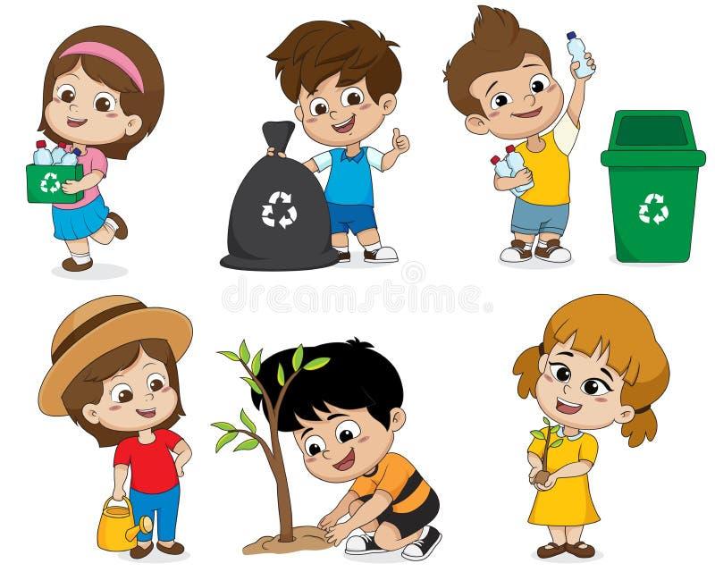 Scherzen Sie Hilfe, die Welt zu retten, indem Sie aufbereiteten die Plastikflaschen sammeln, stock abbildung
