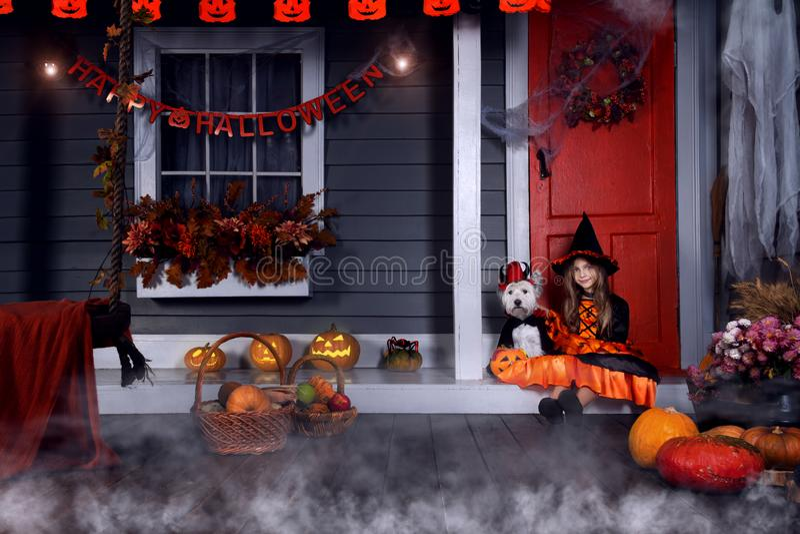 Scherzen Sie im Halloween-Hexenkostüm, das zu Halloween bereit ist lizenzfreie stockfotos