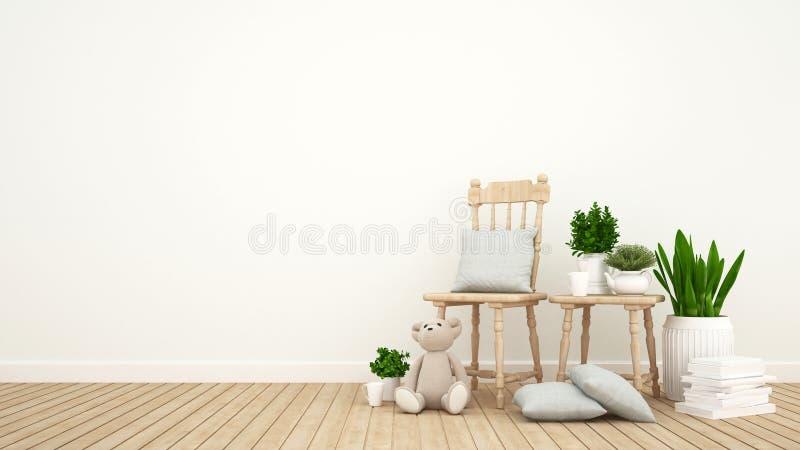 Scherzen Sie Raum oder Wohnzimmer und Innengarten - Wiedergabe 3D lizenzfreies stockfoto