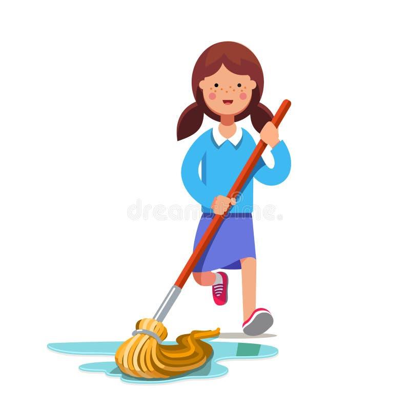 Scherzen Sie Reinigungsboden mit nassem Besen des Staubmops lizenzfreie abbildung