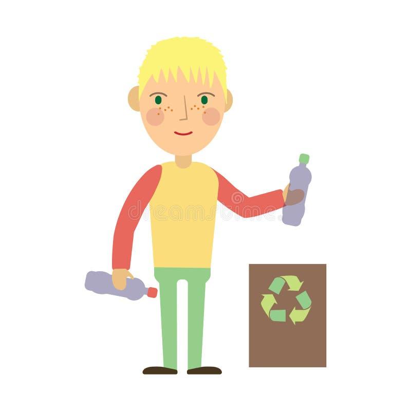 Scherzen Sie werfende Plastikflaschen in einen Wiederverwertungsbehälter vektor abbildung